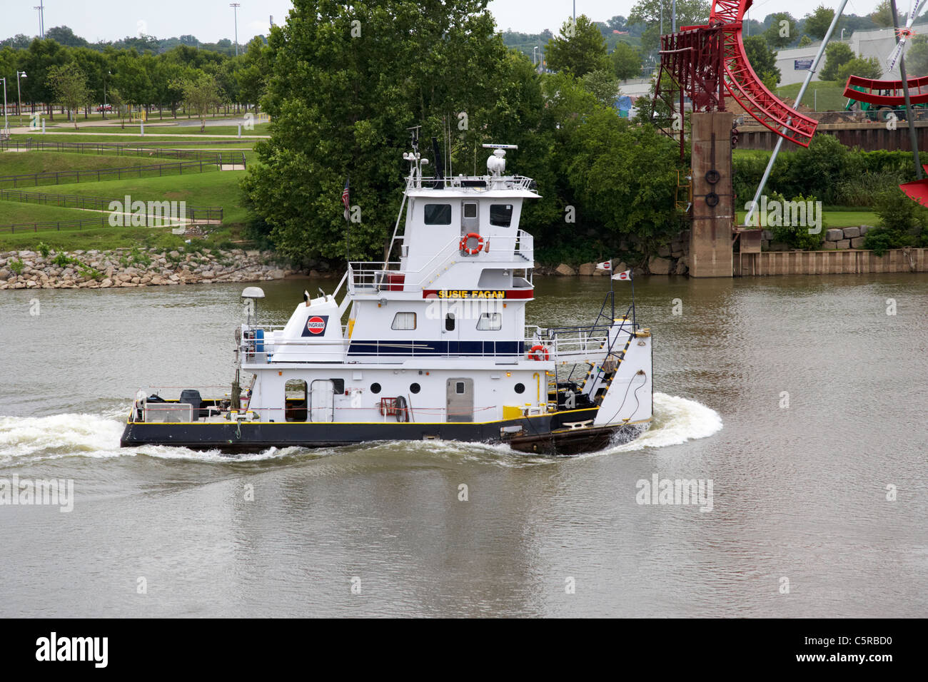 Susie Fagan towboat on the cumberland river Nashville Tennessee USA - Stock Image