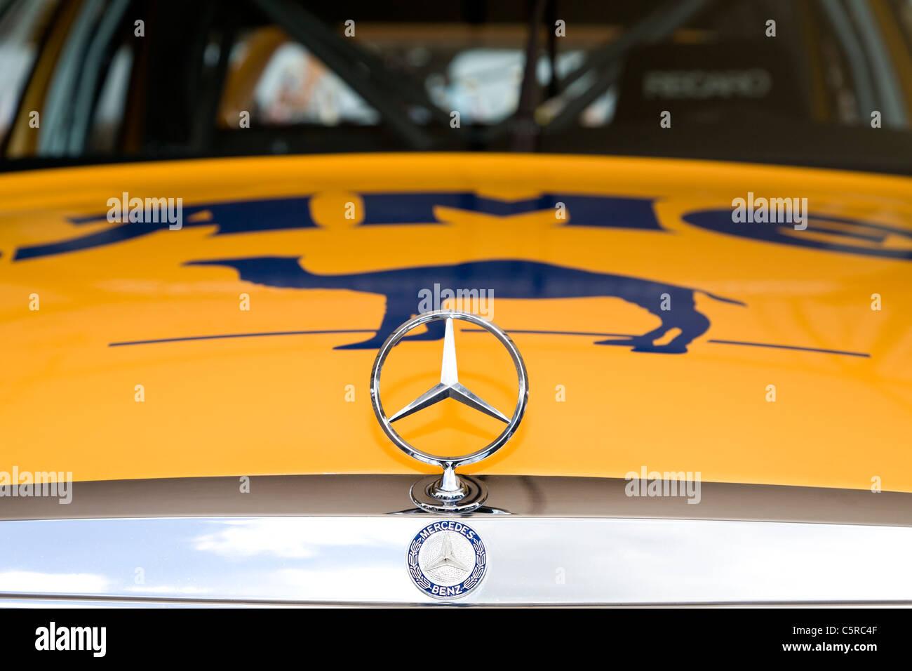 1990 Mercedes-Benz 190 EVO II bonnet badge detail. 2011 Goodwood Festival of Speed, Sussex, England, UK. - Stock Image