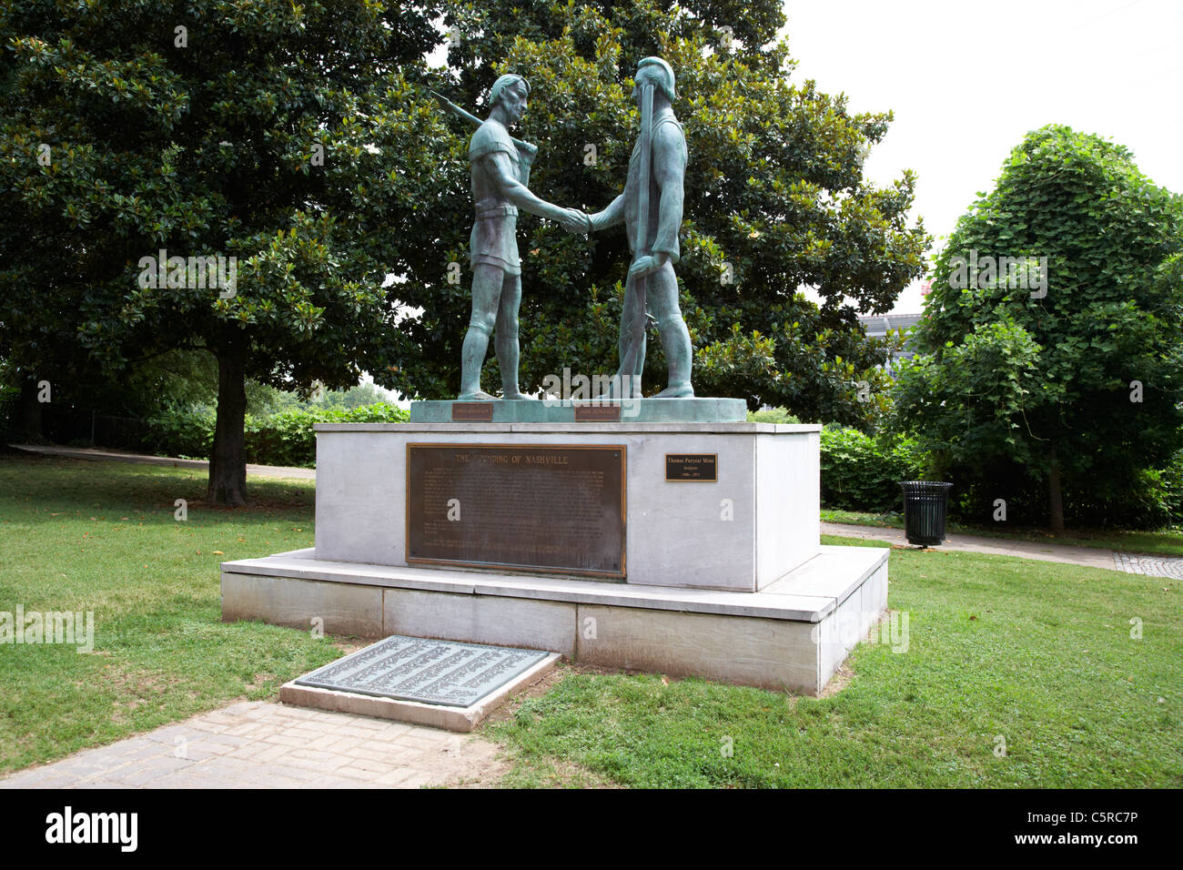 the founding of nashville sculpture featuring james robertson and john donelson Nashville Tennessee USA - Stock Image