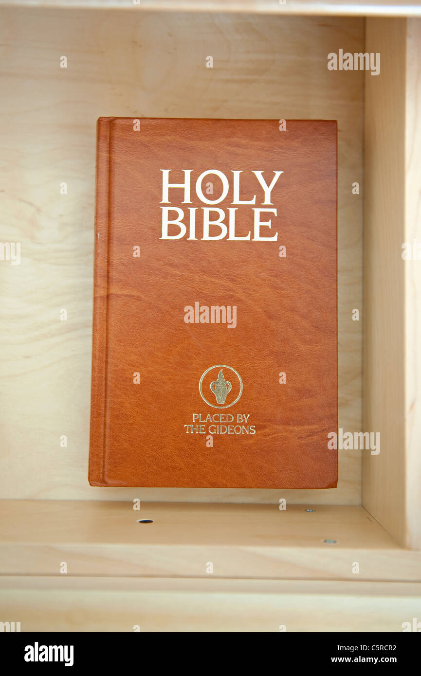 Holy Bible left by The Gideons in a hotel drawer. - Stock Image