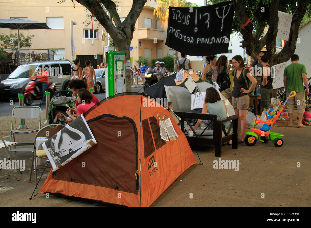 Israel, Tel Aviv, the Housing Protest in Rothschild Avenue - Stock Image