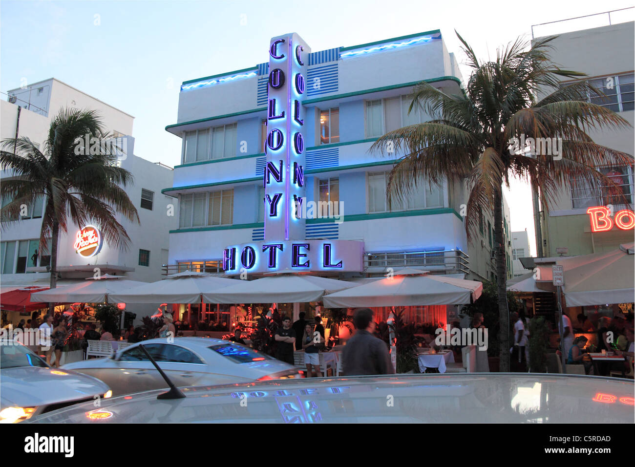 Colony Hotel, Ocean Drive, Miami South Beach, Gold Coast, Florida, United States of America, USA, North America - Stock Image