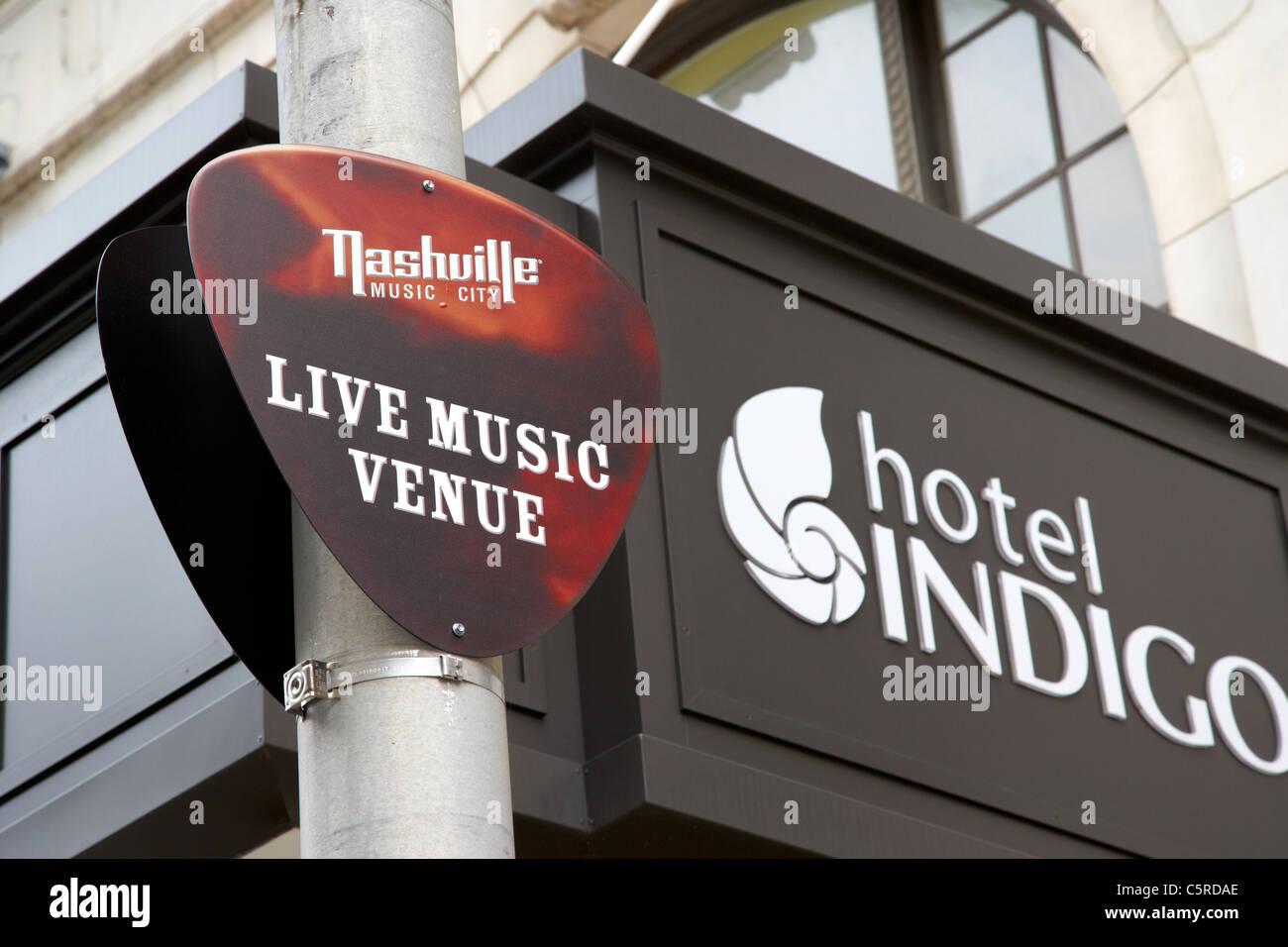 live music venue sign outside the hotel indigo Nashville Tennessee USA - Stock Image