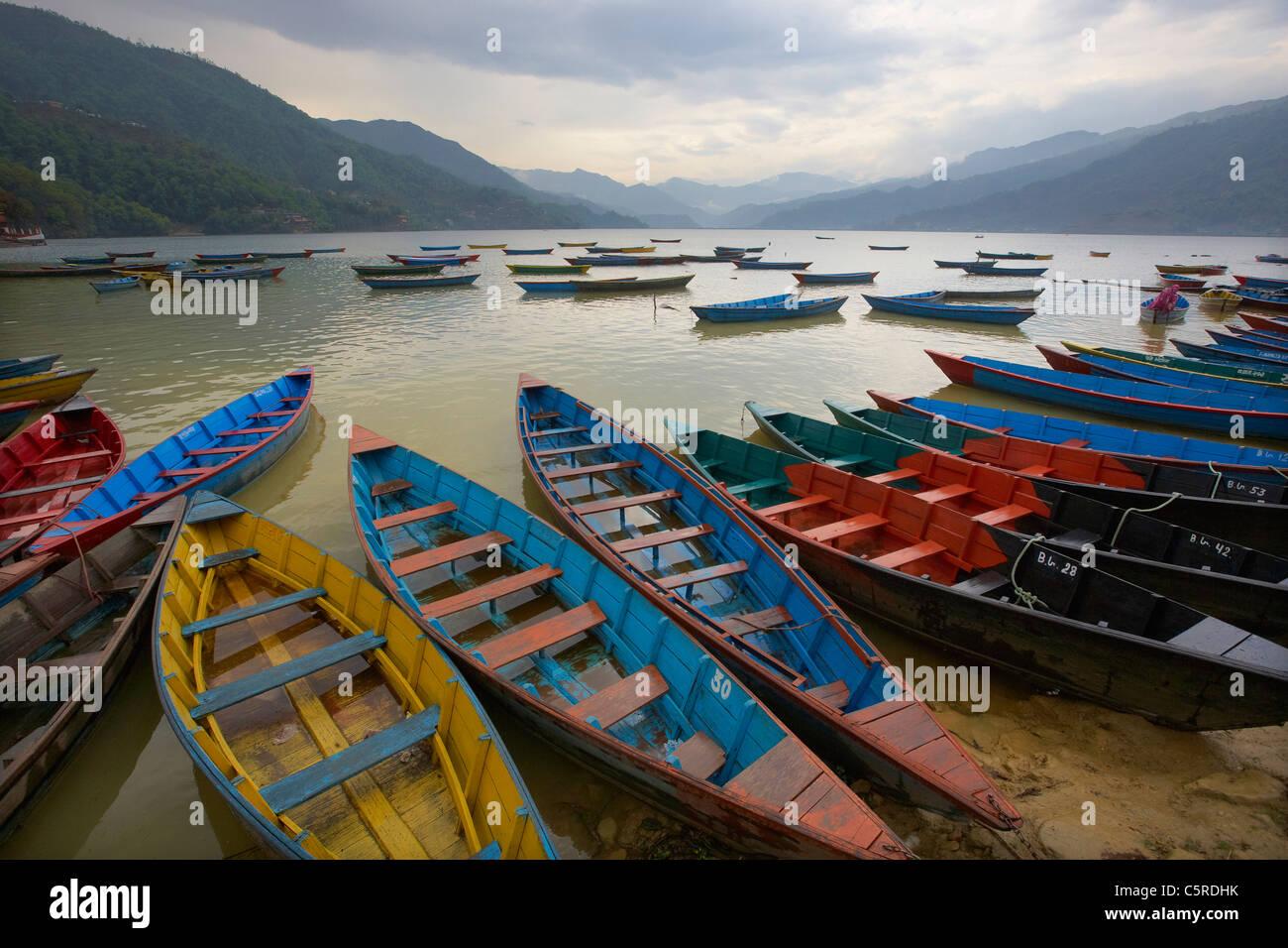 Wooden boats on lake Phewa (Fewa) Tal, Pokhara, Nepal, Asia - Stock Image