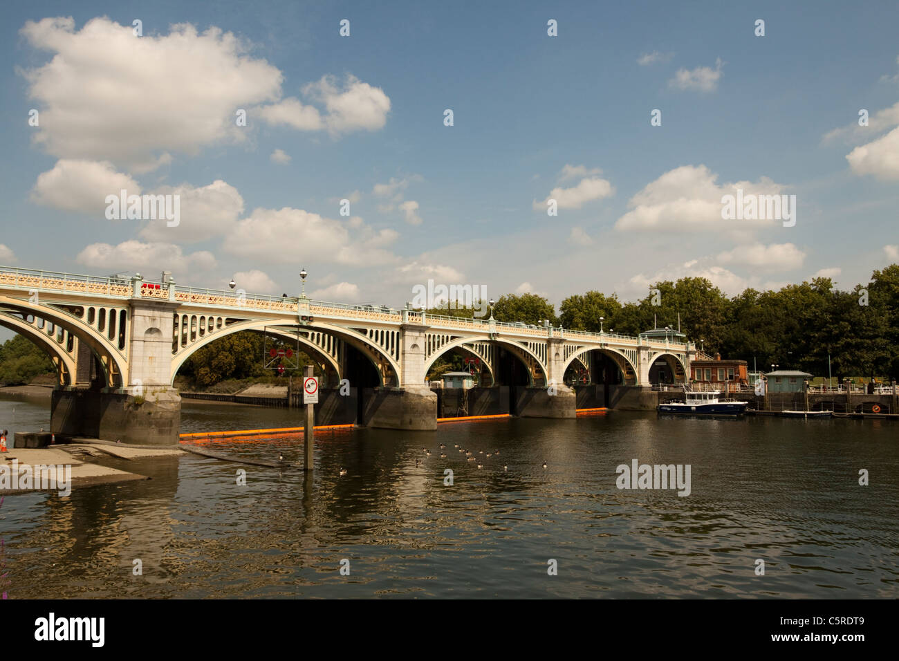 The River Thames  with Richmond Lock and Weir, England, UK Stock Photo