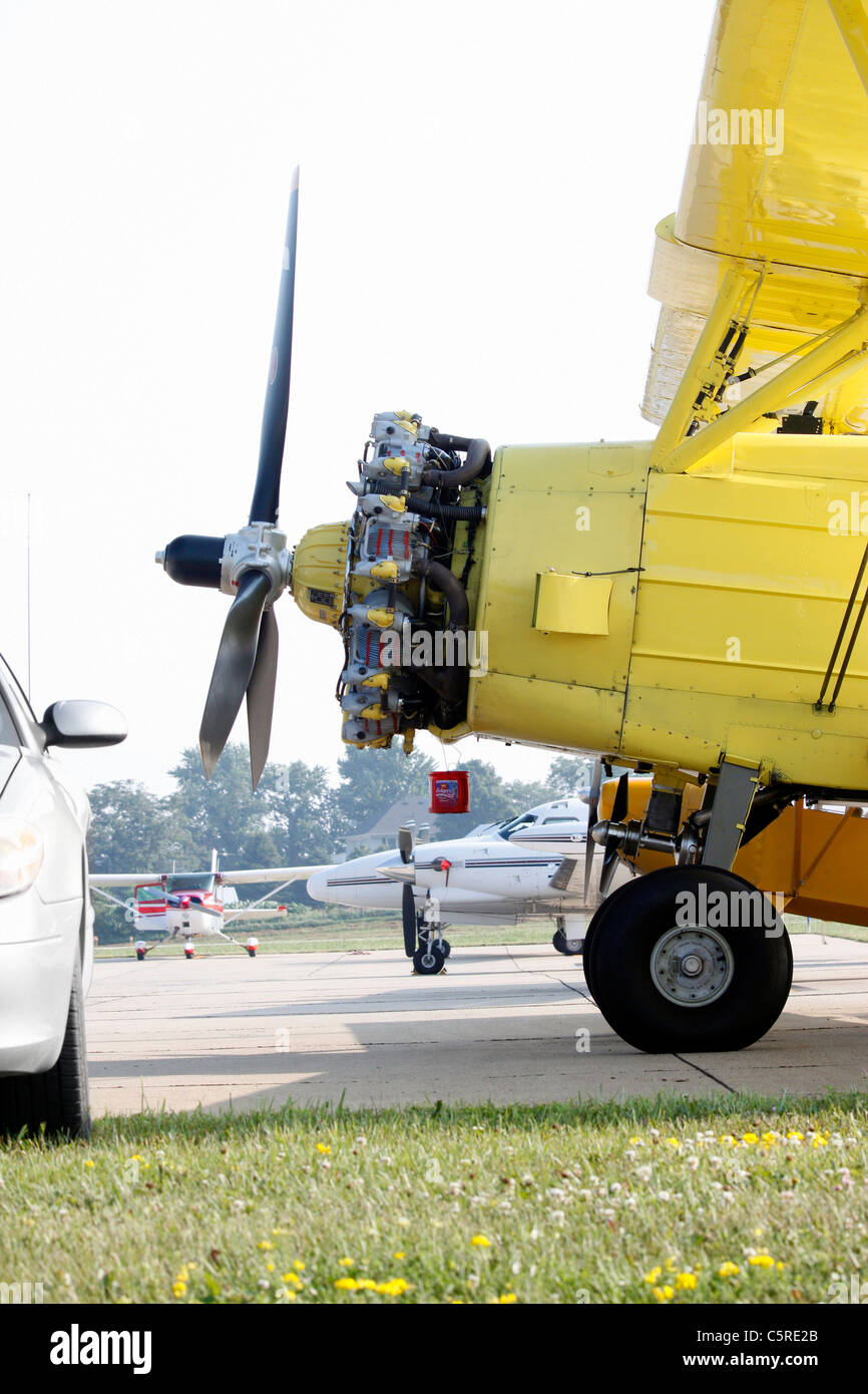 Piston powered airplane used in aerial application of agricultural chemicals - Stock Image