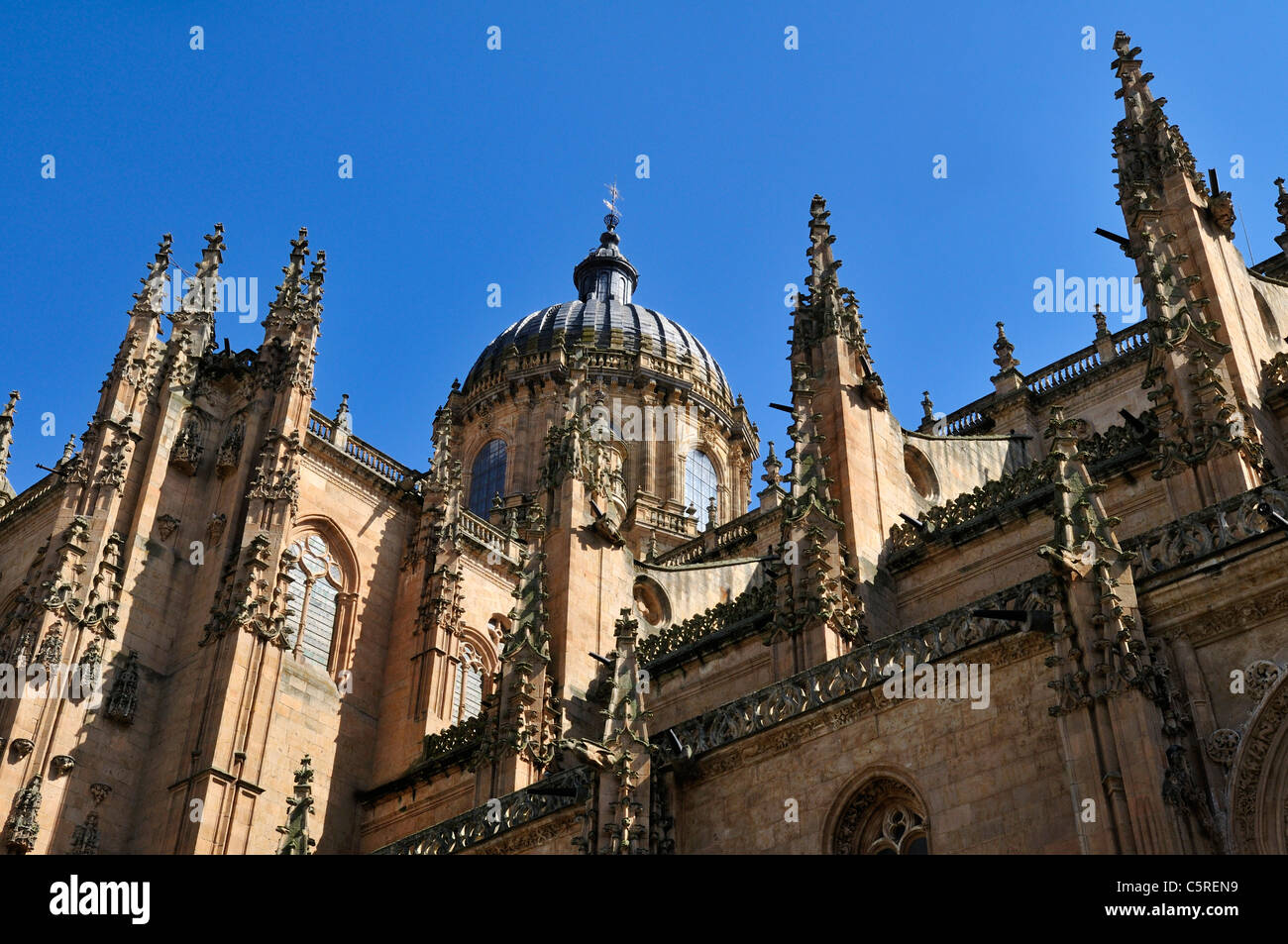Europe, Spain, Castile and Leon, Salamanca, View of cathedral - Stock Image