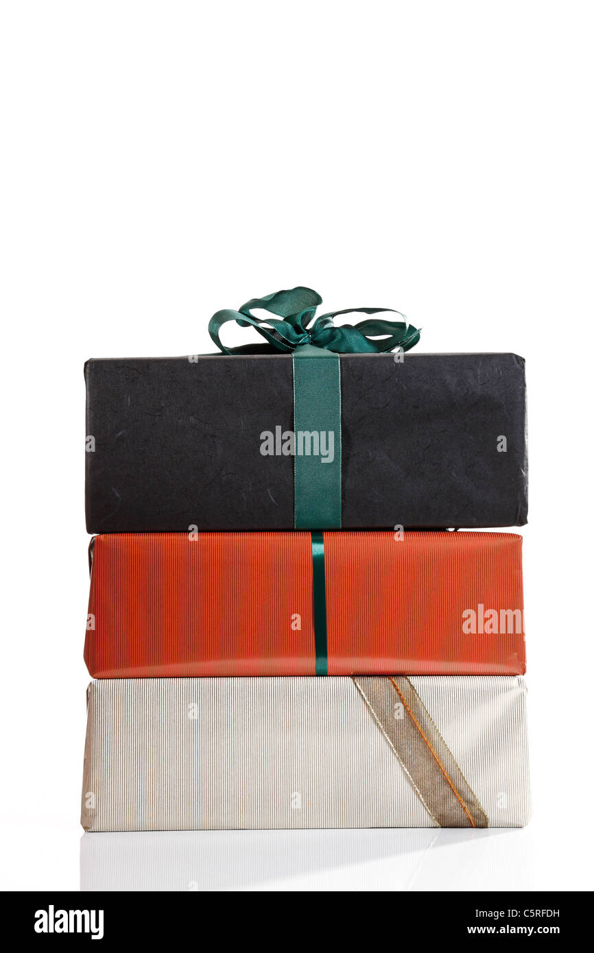 Stacked gift parcels - Stock Image
