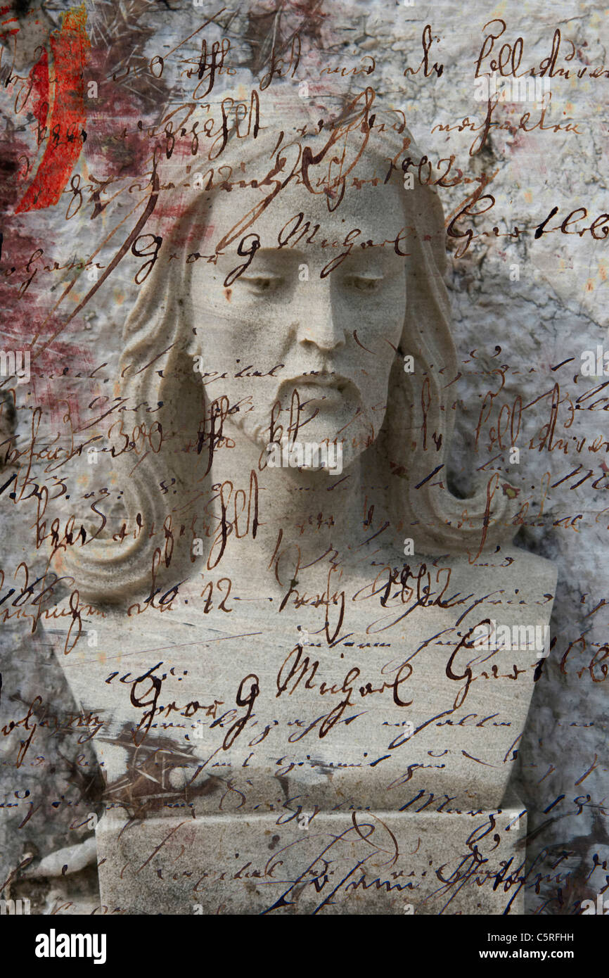 Collage, Italy, Venice, Statue, writings in foreground - Stock Image