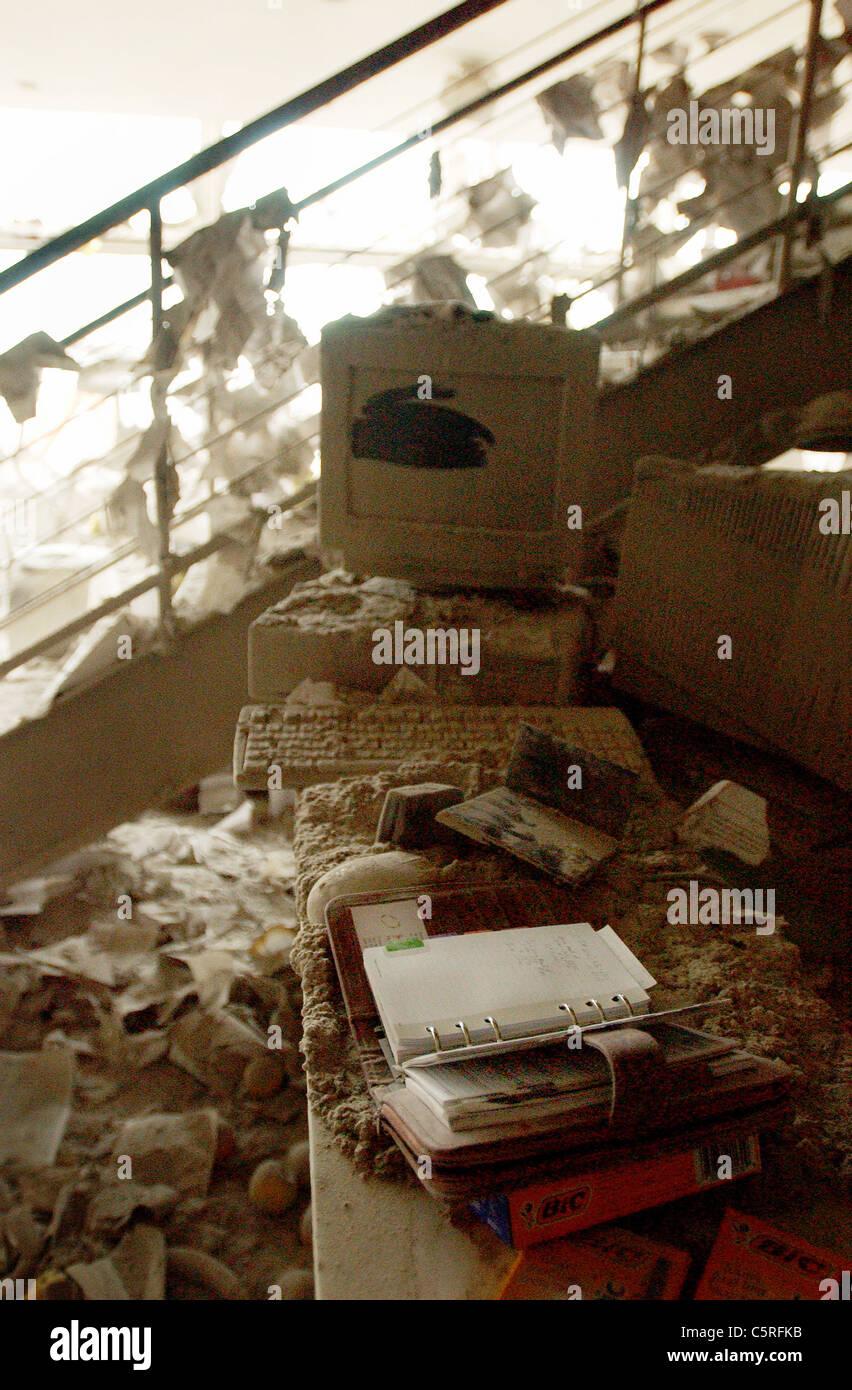 Wreckage at ground zero, the World Trade Center following 911 terrorist attacks - Stock Image