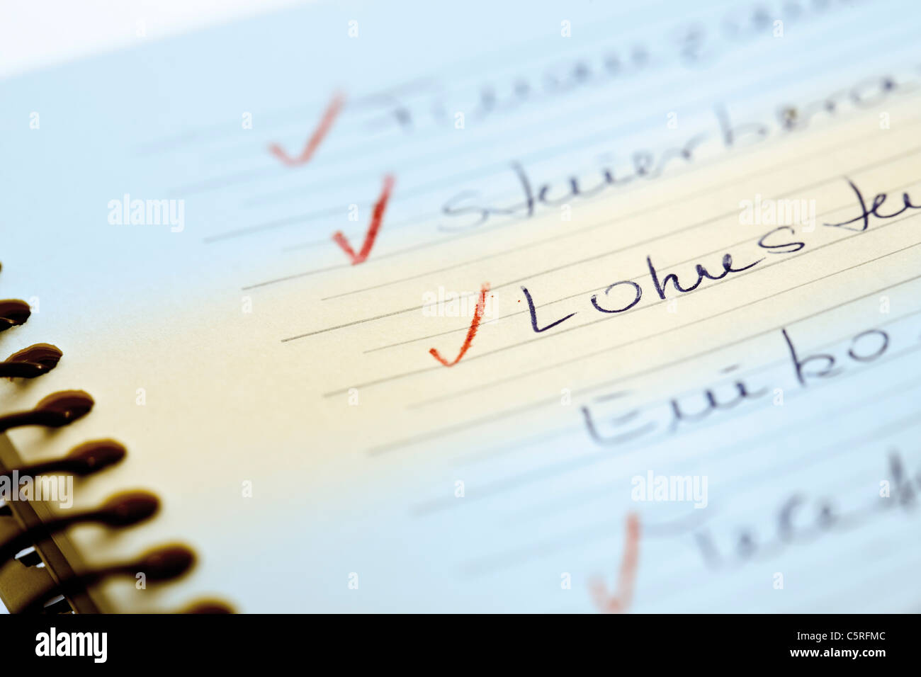 To Do List, close-up - Stock Image