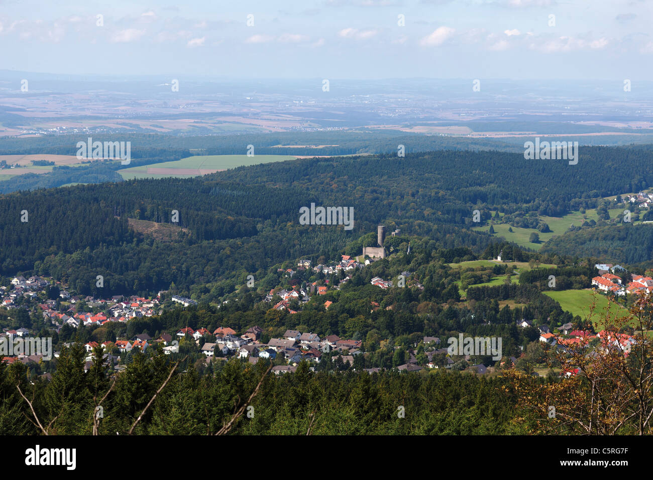 Europe, Germany, Hesse, Frankfurt, View of village and castle Stock Photo