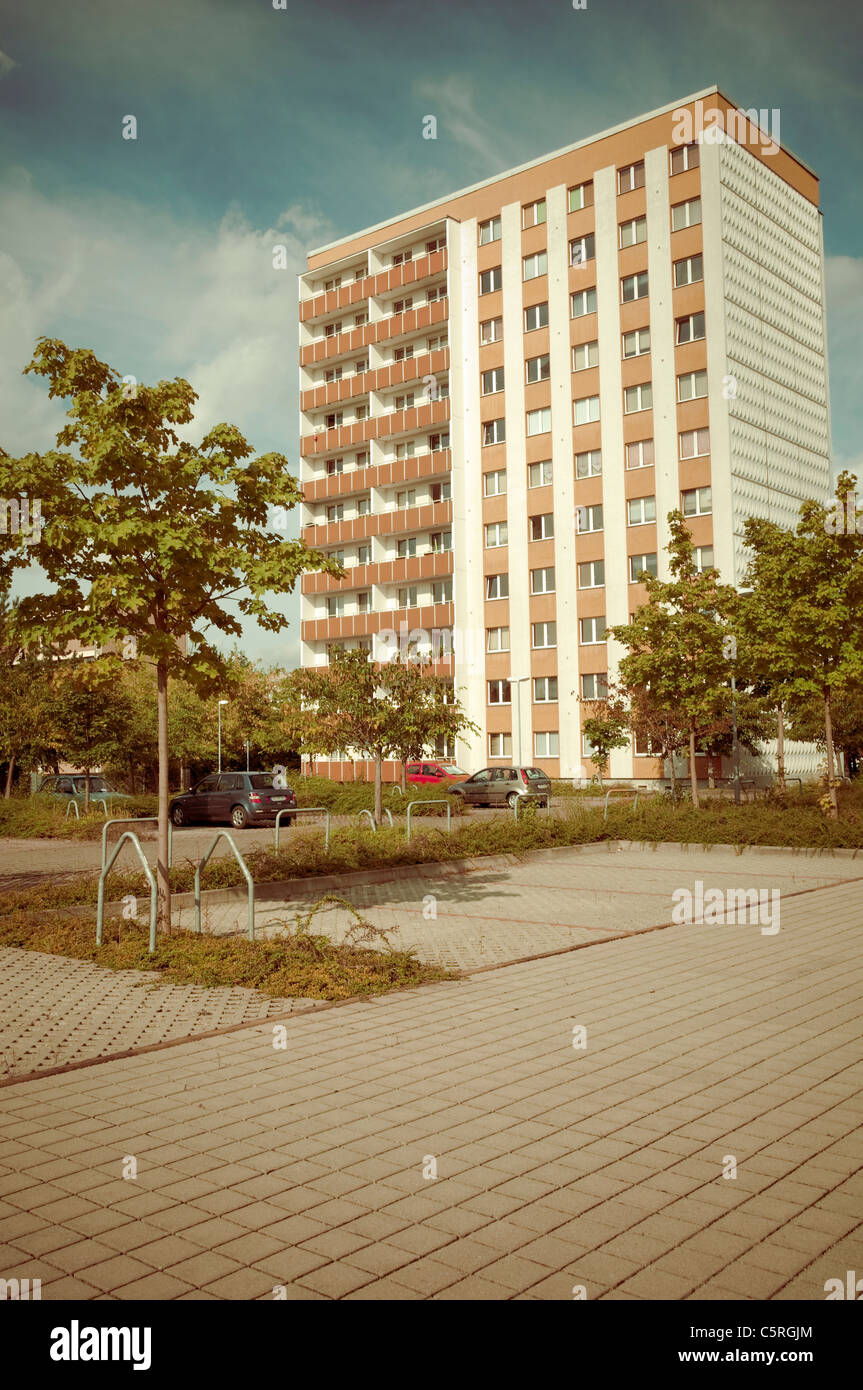 Prefab apartment building in the retro style of the 70s and 80s, housing estate, social housing, symmetry, settlement, - Stock Image