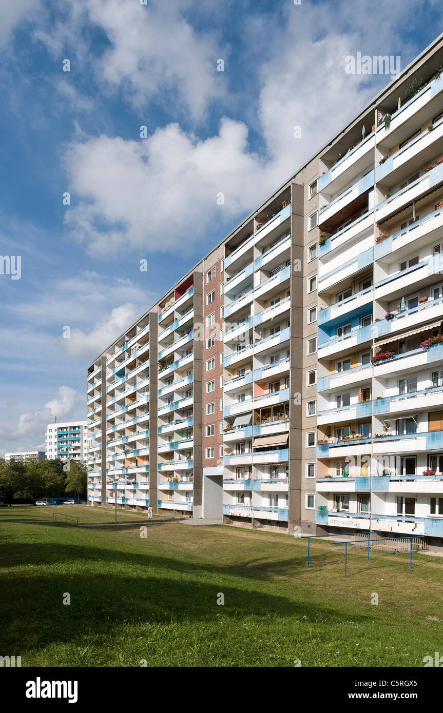 Plattenbau, pre-fabricated concrete building, social housing, residential estate, Jena, Thuringia, Germany, Europe - Stock Image