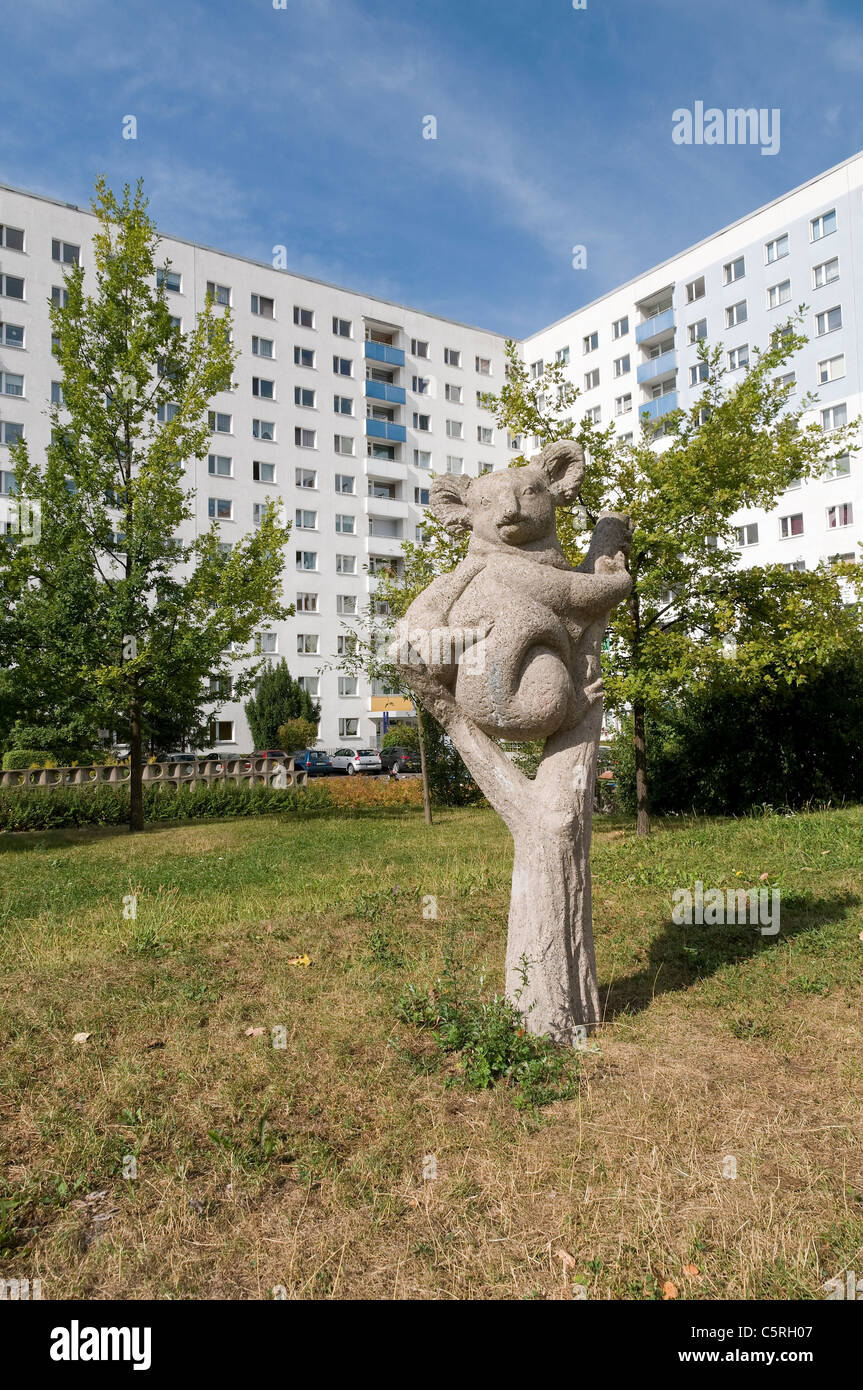 Sculpture, Plattenbau, pre-fabricated concrete buildings, social housing, residential estate, Jena, Thuringia, Germany, Stock Photo