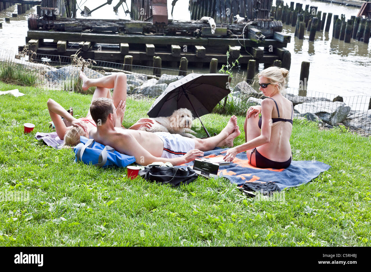 two shapely young women fluffy dog & male companion sunning on grass next to Hudson river & charred timbers - Stock Image