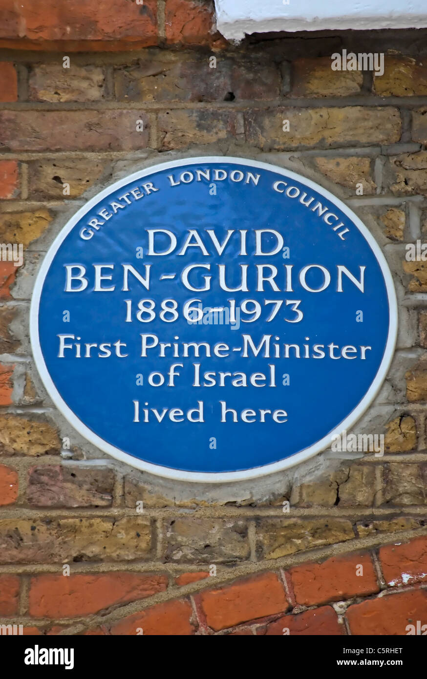 greater london council blue plaque marking a home of david ben-gurion, first prime minister of israel, in london, england Stock Photo