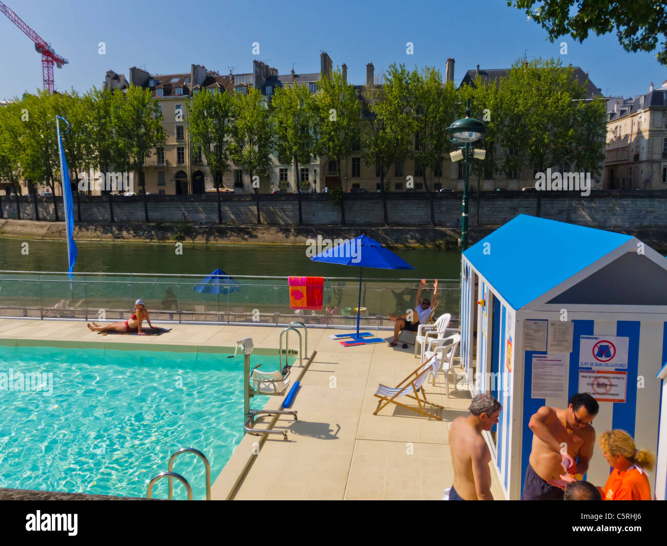Paris, France, People Enjoying Annual Beach Event in City, 'Paris Plages' Outdoor Swimming Pool on Seine - Stock Image