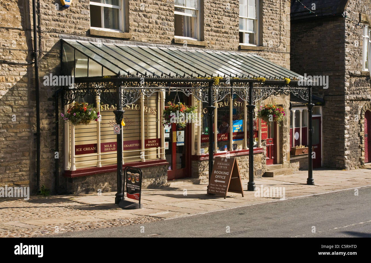 Veranda on shop front at Middleham, North Yorkshire, UK - Stock Image