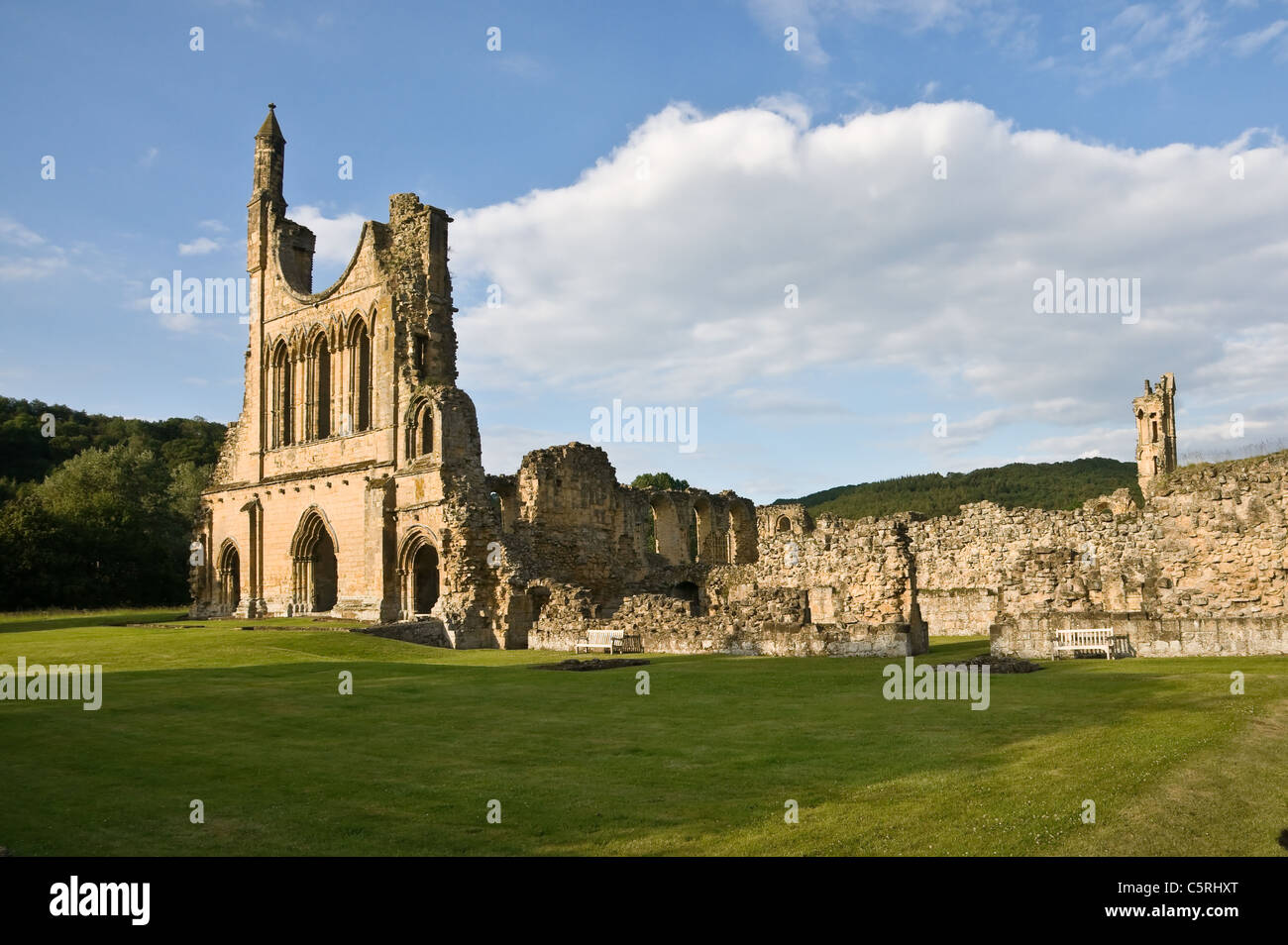 Byland Abbey, North Yorkshire. Showing the west wall of the abbey in the evening sunlight. - Stock Image