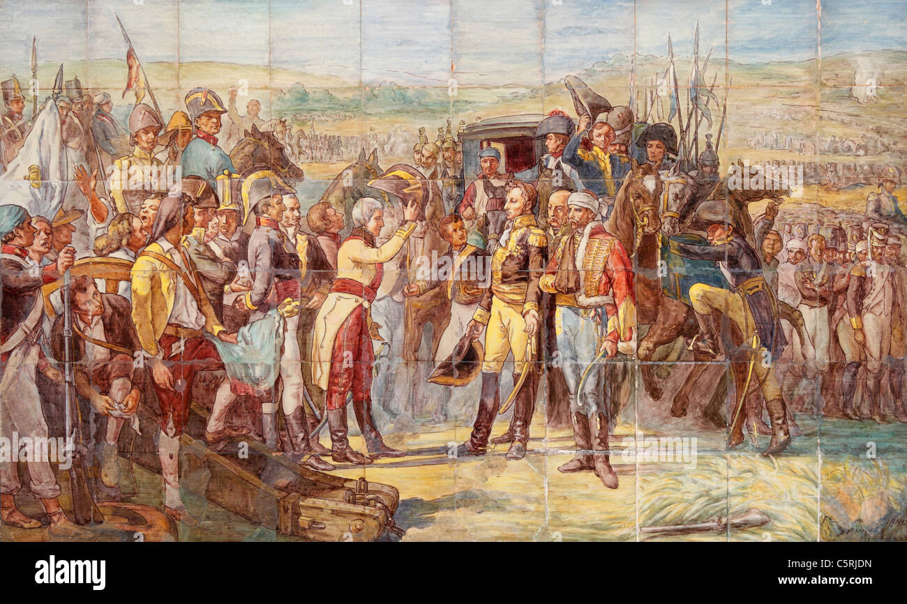 Tiles depicting surrender by French forces during Battle of Bailen near Jaen, Andalusia, Spain in 1808 - Stock Image