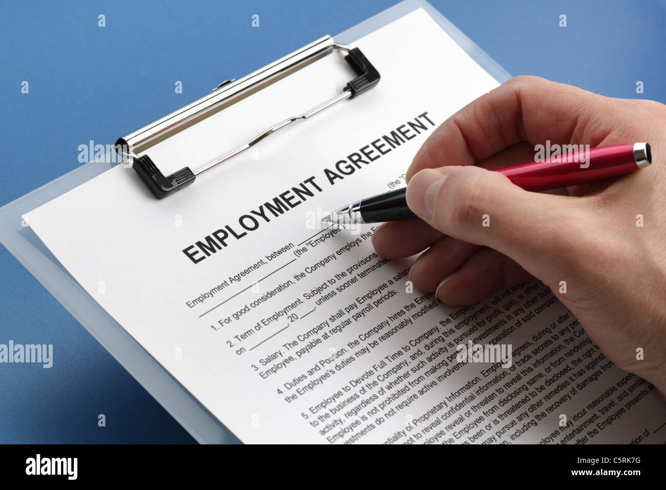 Employment agreement contract - Stock Image
