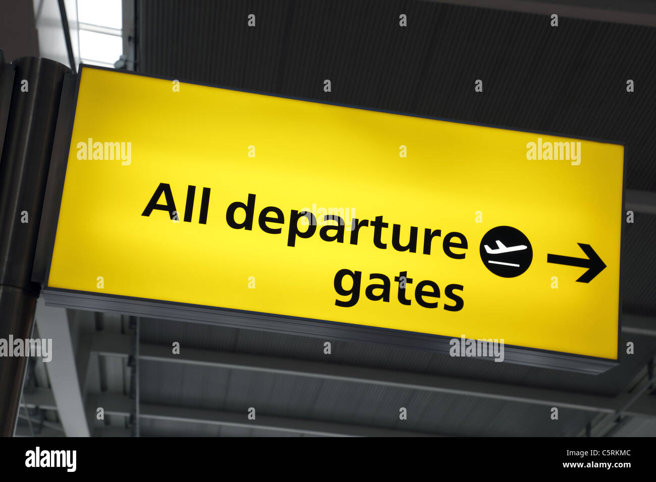 Airport departure gates sign - Stock Image