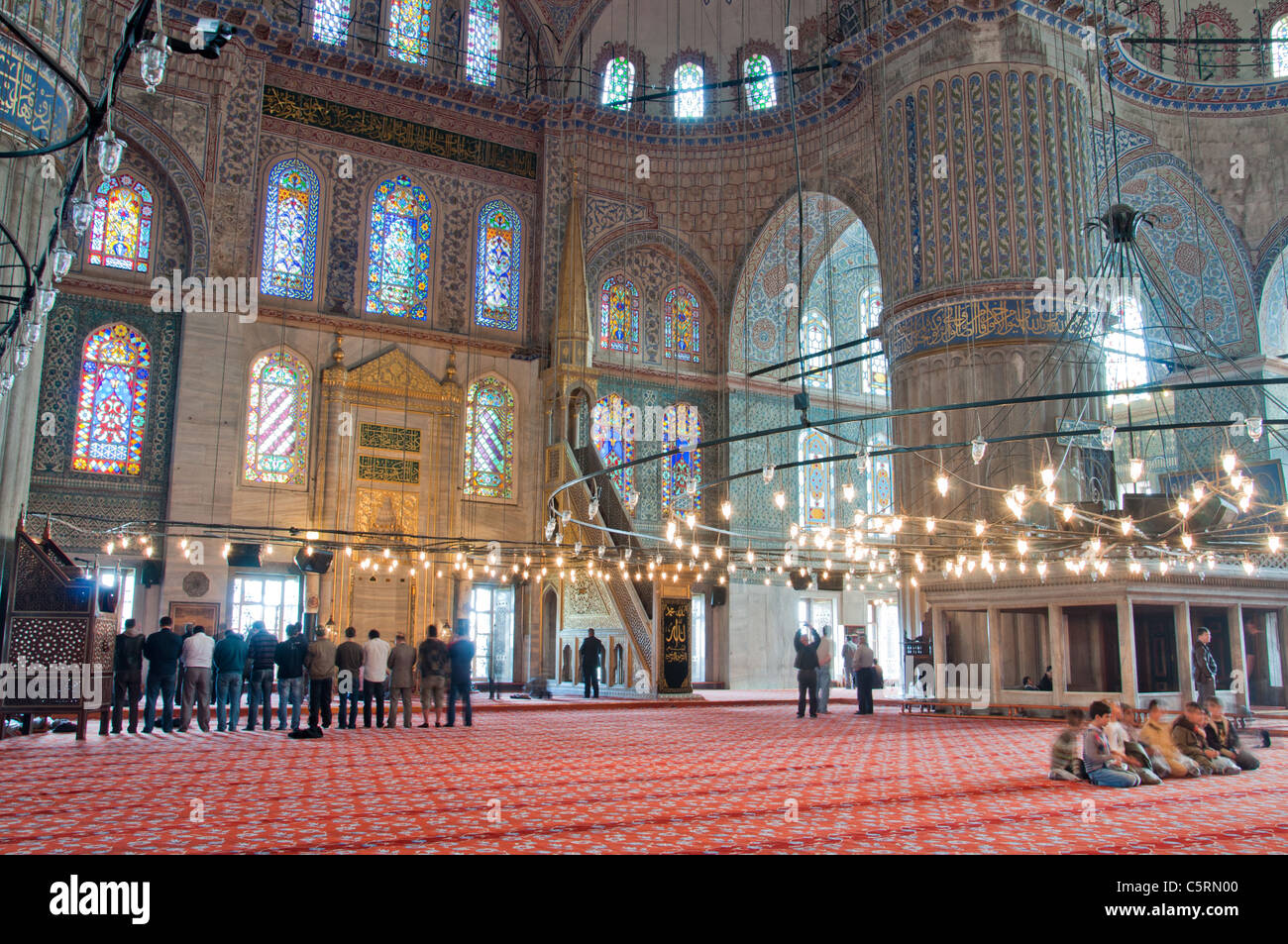 The main prayer hall, The Blue Mosque, Istanbul, Turkey - Stock Image
