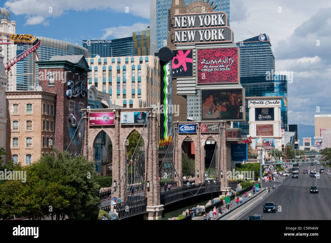 A replica Brooklyn Bridge on the strip, Las Vegas, Nevada, USA - Stock Image