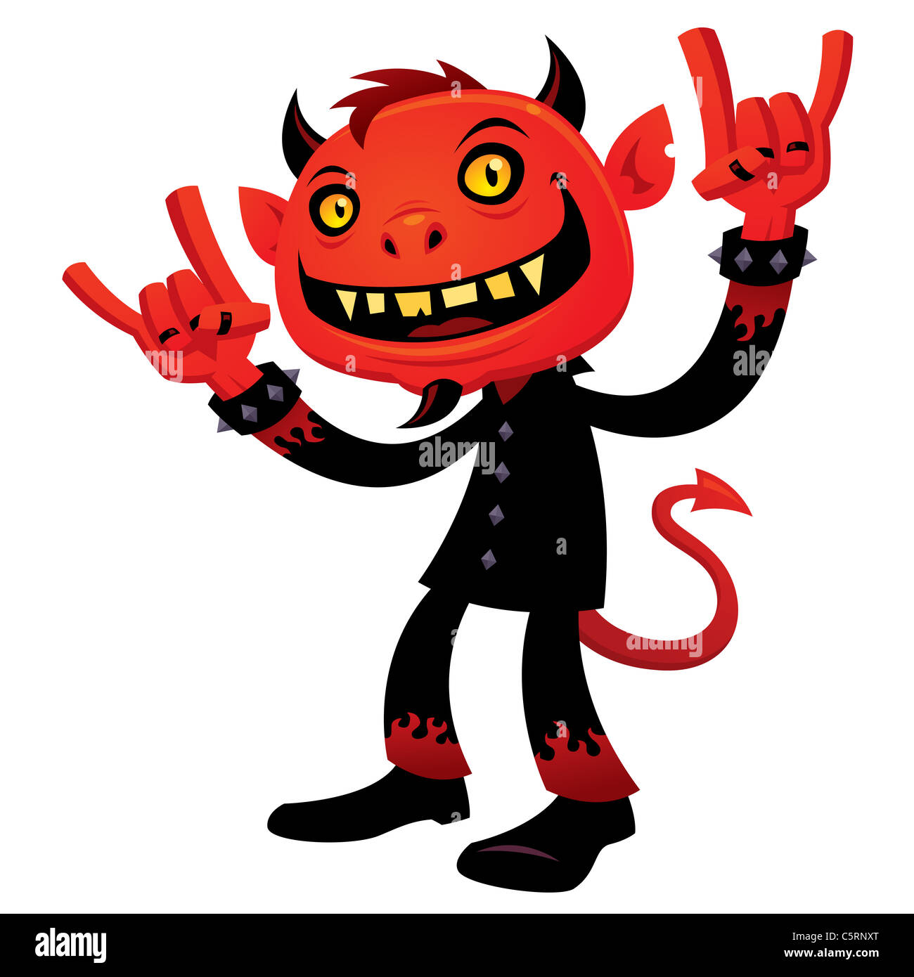 Vector cartoon illustration of a grinning devil character with heavy metal, rock and roll, devil horns hand signs. - Stock Image