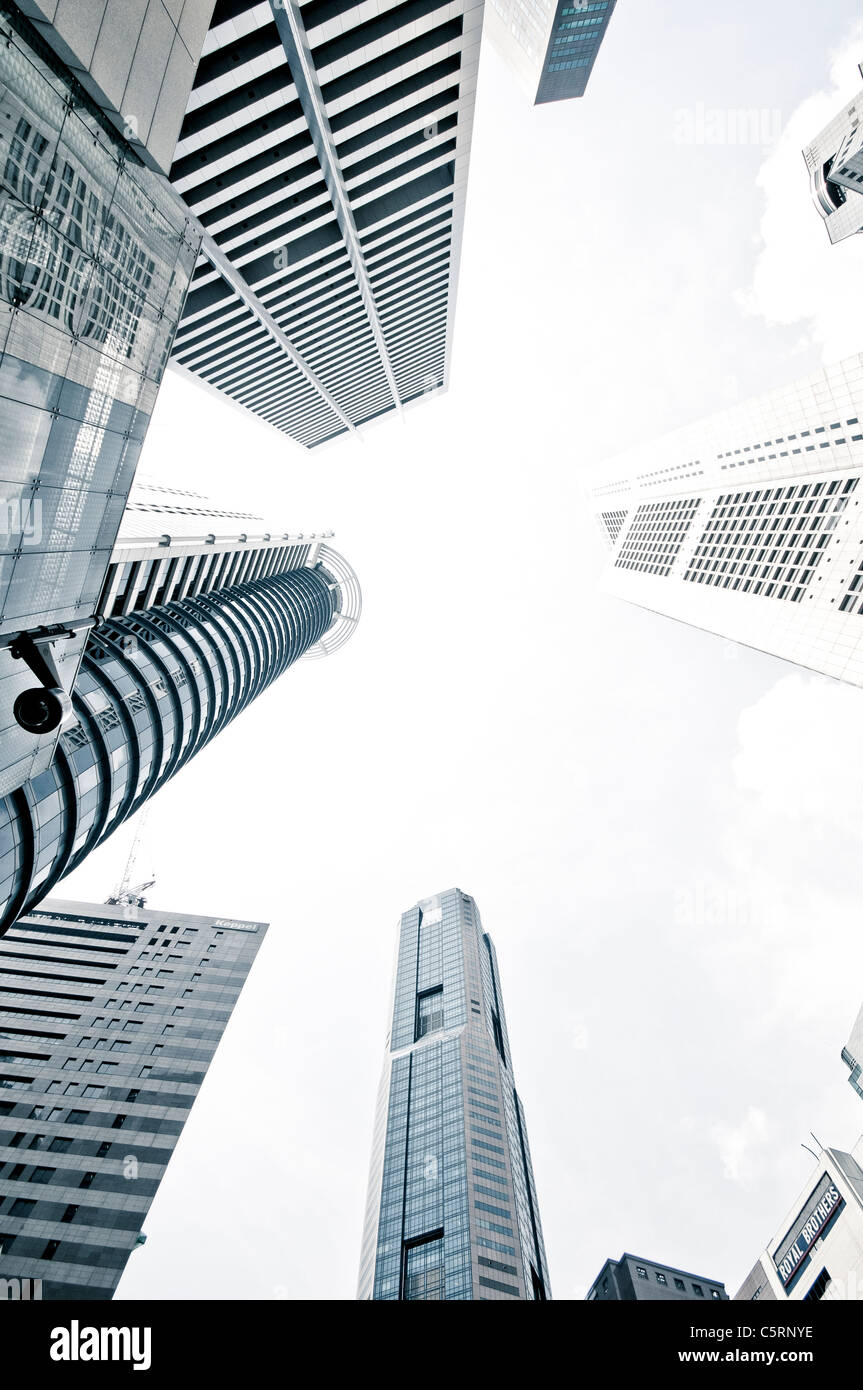 Skyscrapers of the financial district, central business district, creative, Singapore, Southeast Asia, Asia - Stock Image