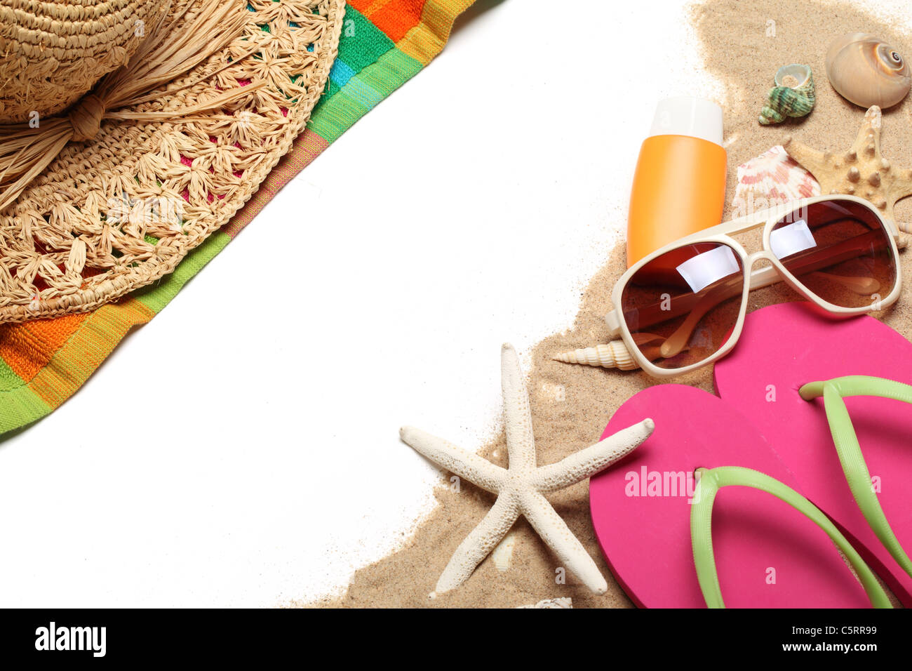 Beach items on white background.Copy space for your text. - Stock Image