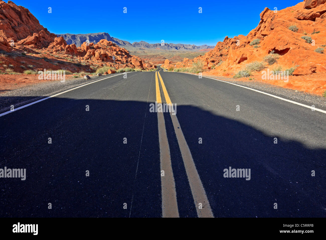 Desert road in Valley of Fire State Park, Nevada, USA Stock Photo