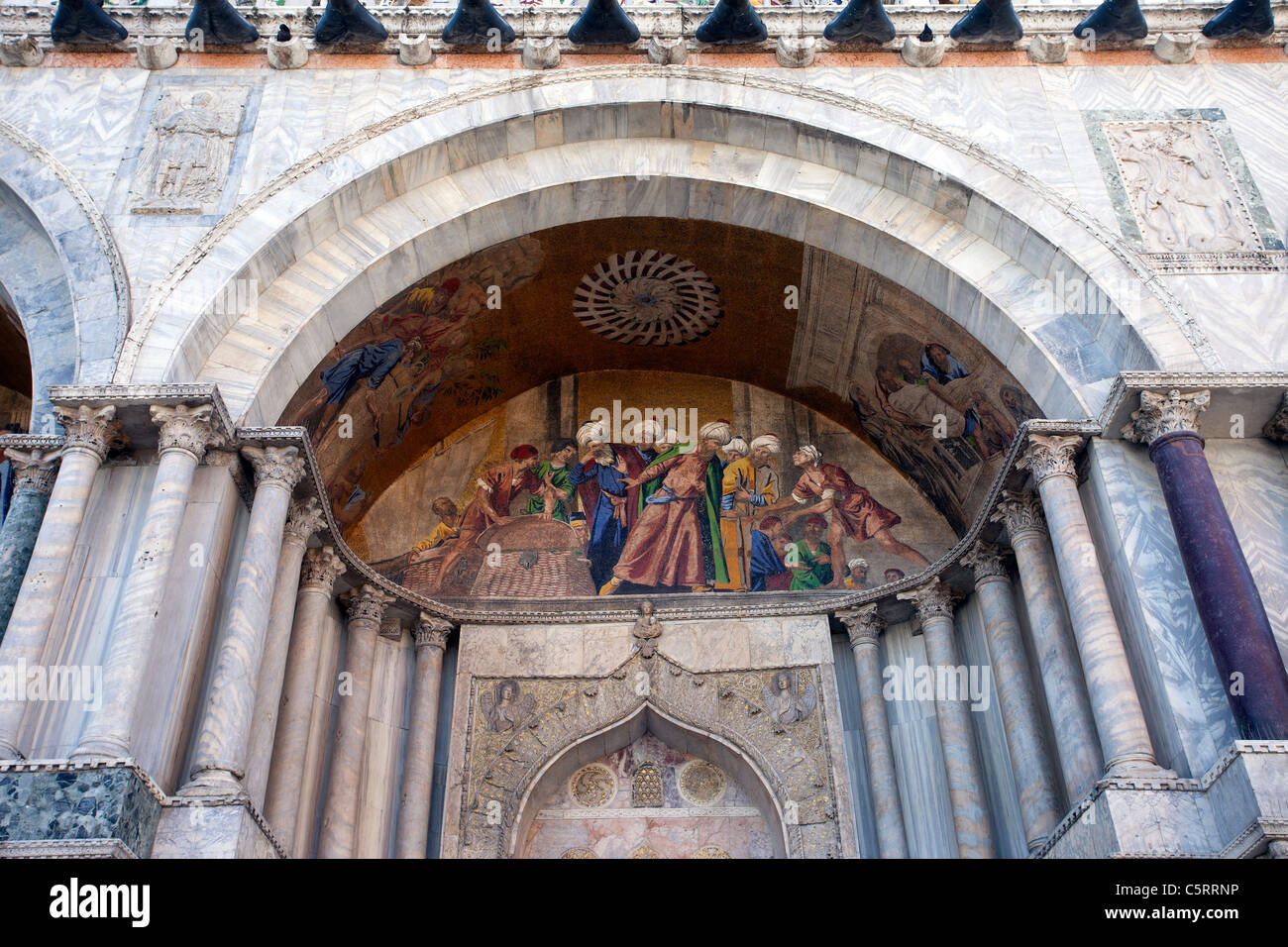 Arched mural, fresco painted on the entrance to St. Marks Cathedral ...