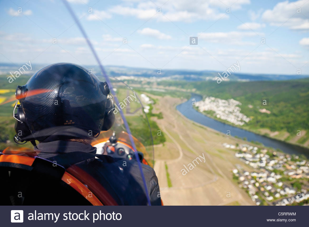 Europe, Germany, Rhineland-Palatinate, Koblenz, View of landing approach of gyrocopter - Stock Image