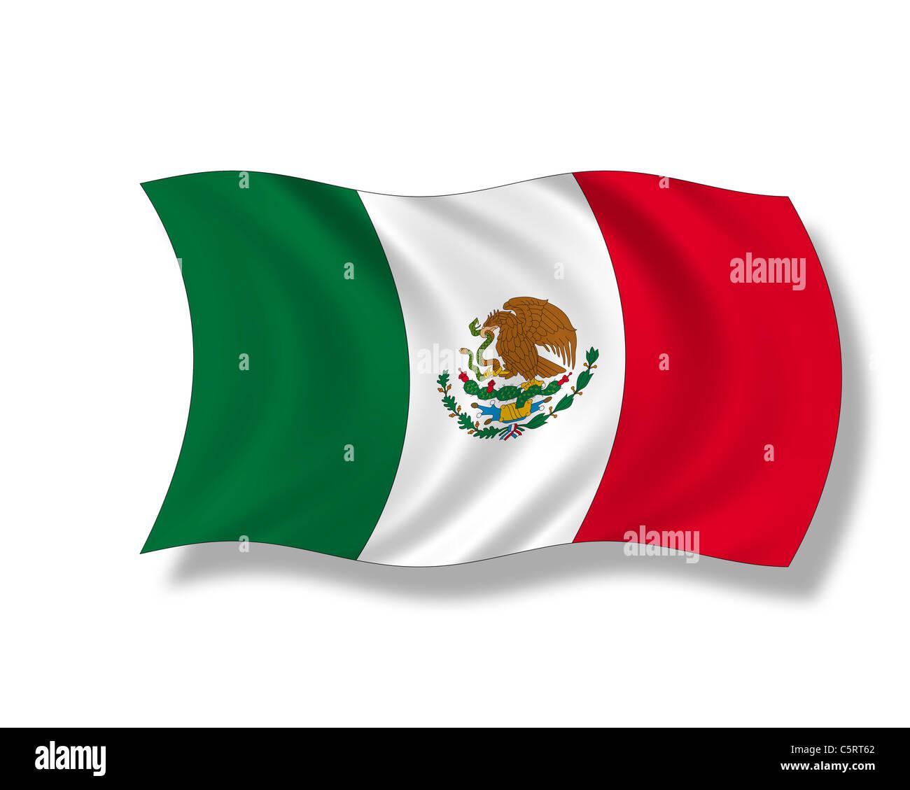 Illustration, Flag of Mexico - Stock Image