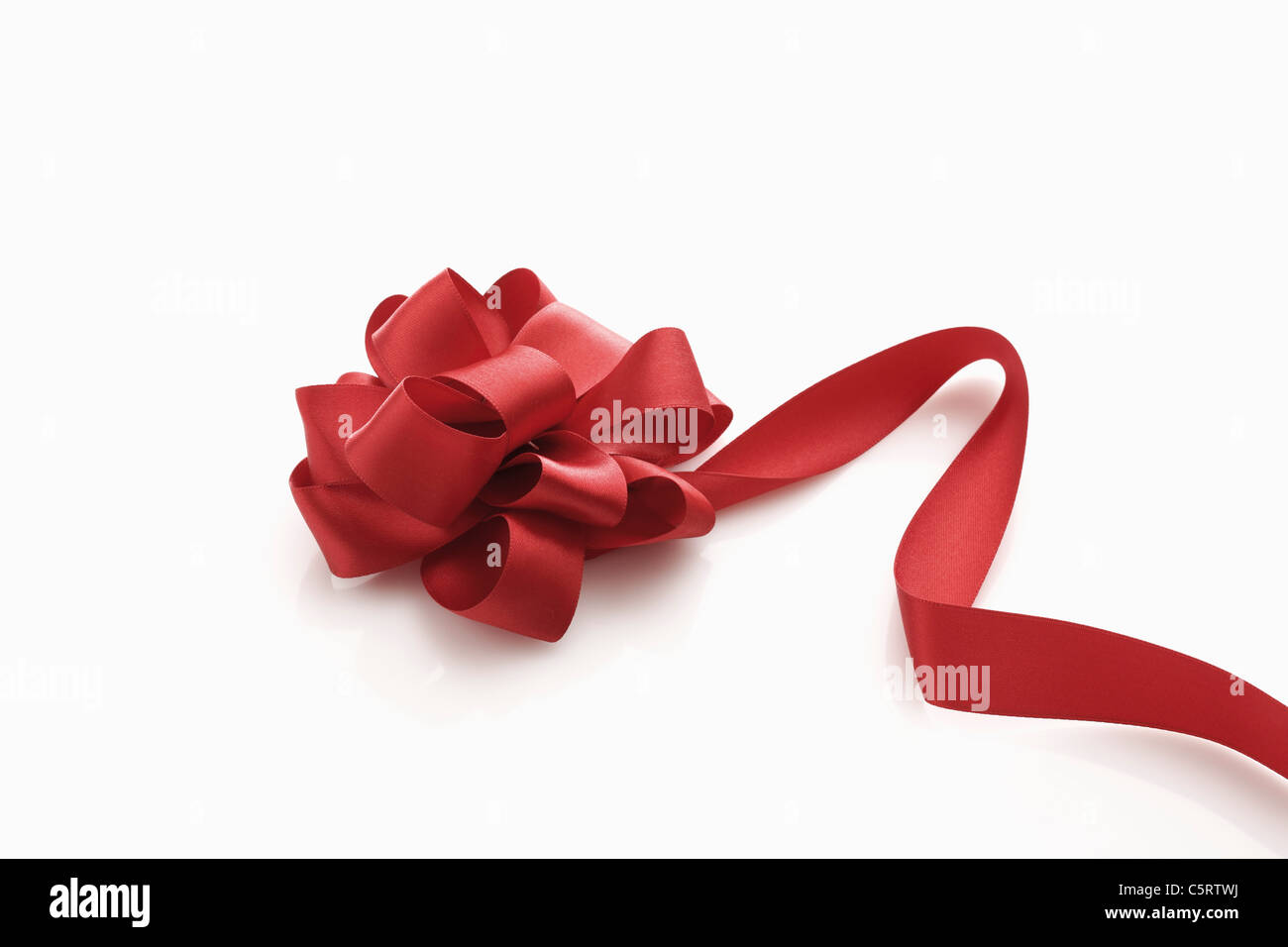 Red gift ribbon, elevated view Stock Photo