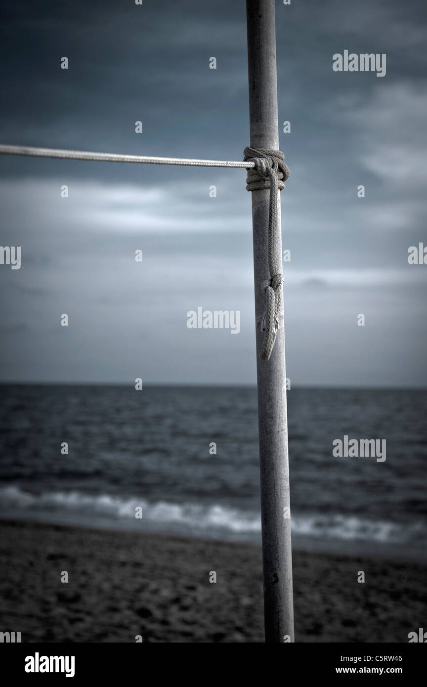 Turkey, Belek, Rope tied to pole at beach Stock Photo