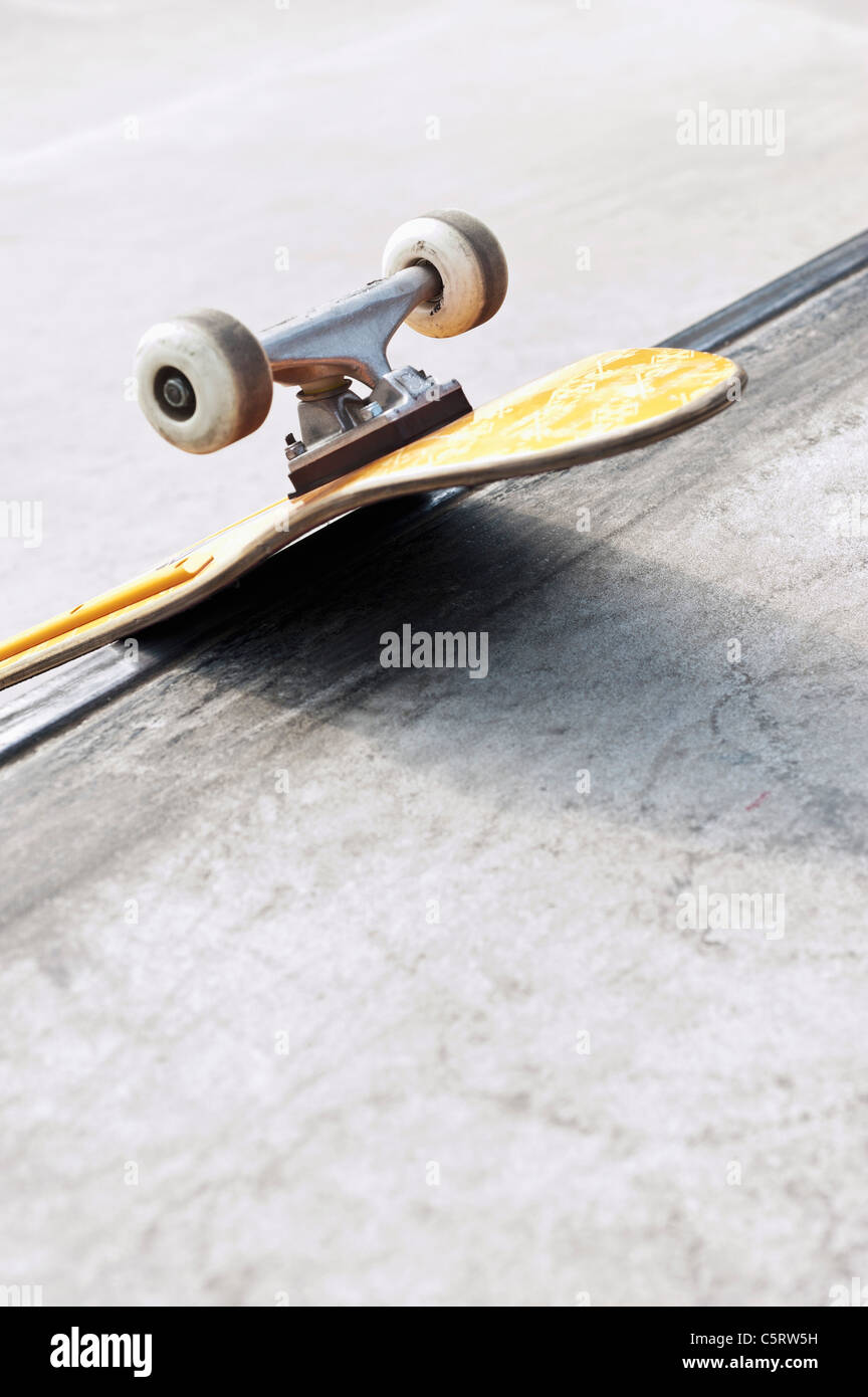 Germany, NRW, Duesseldorf, Skateboard at public skatepark - Stock Image