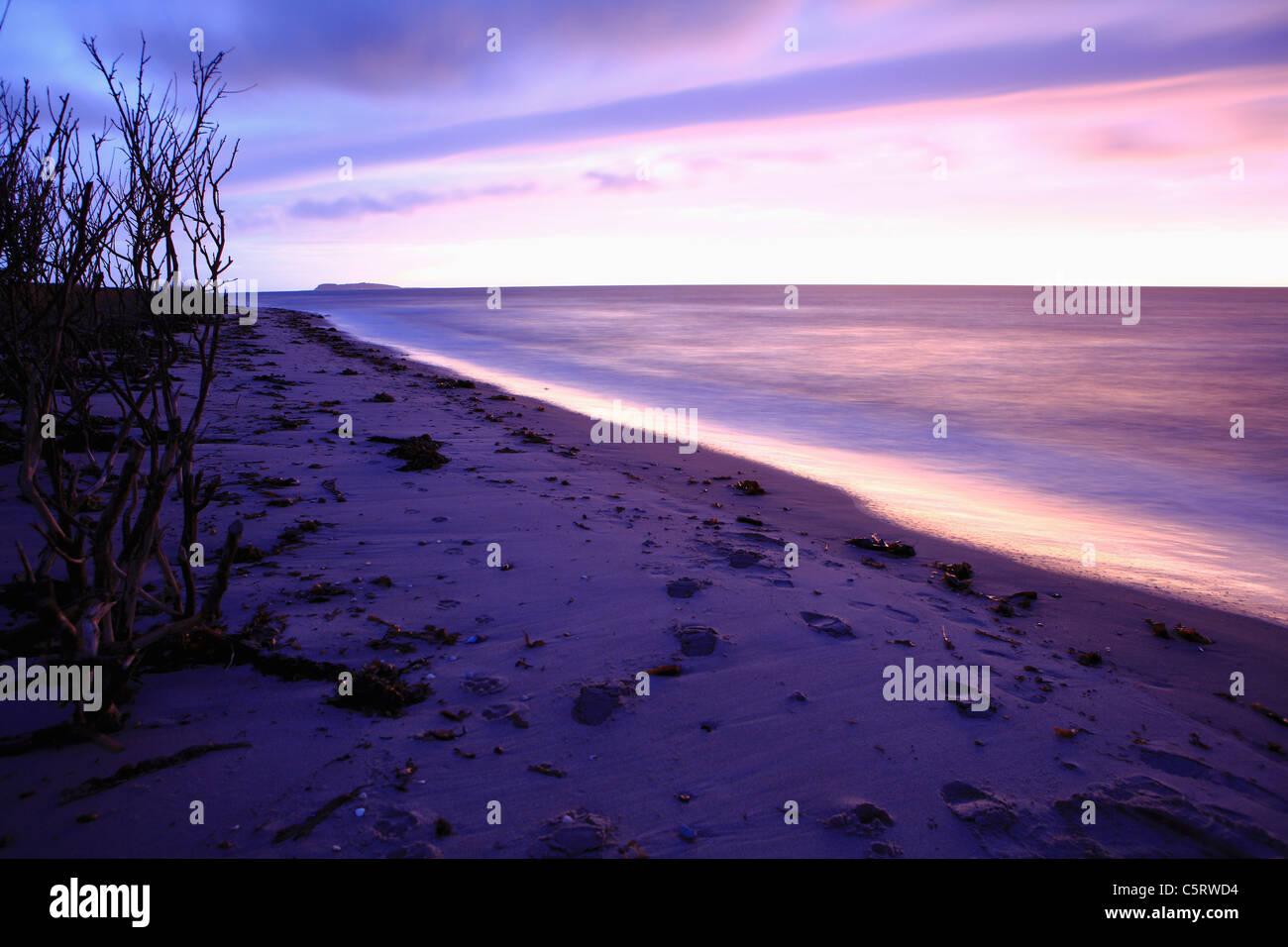 Denmark, Kattegat, Ebeltoft, Baltic Sea, View of beach with beautiful horizon at dusk - Stock Image