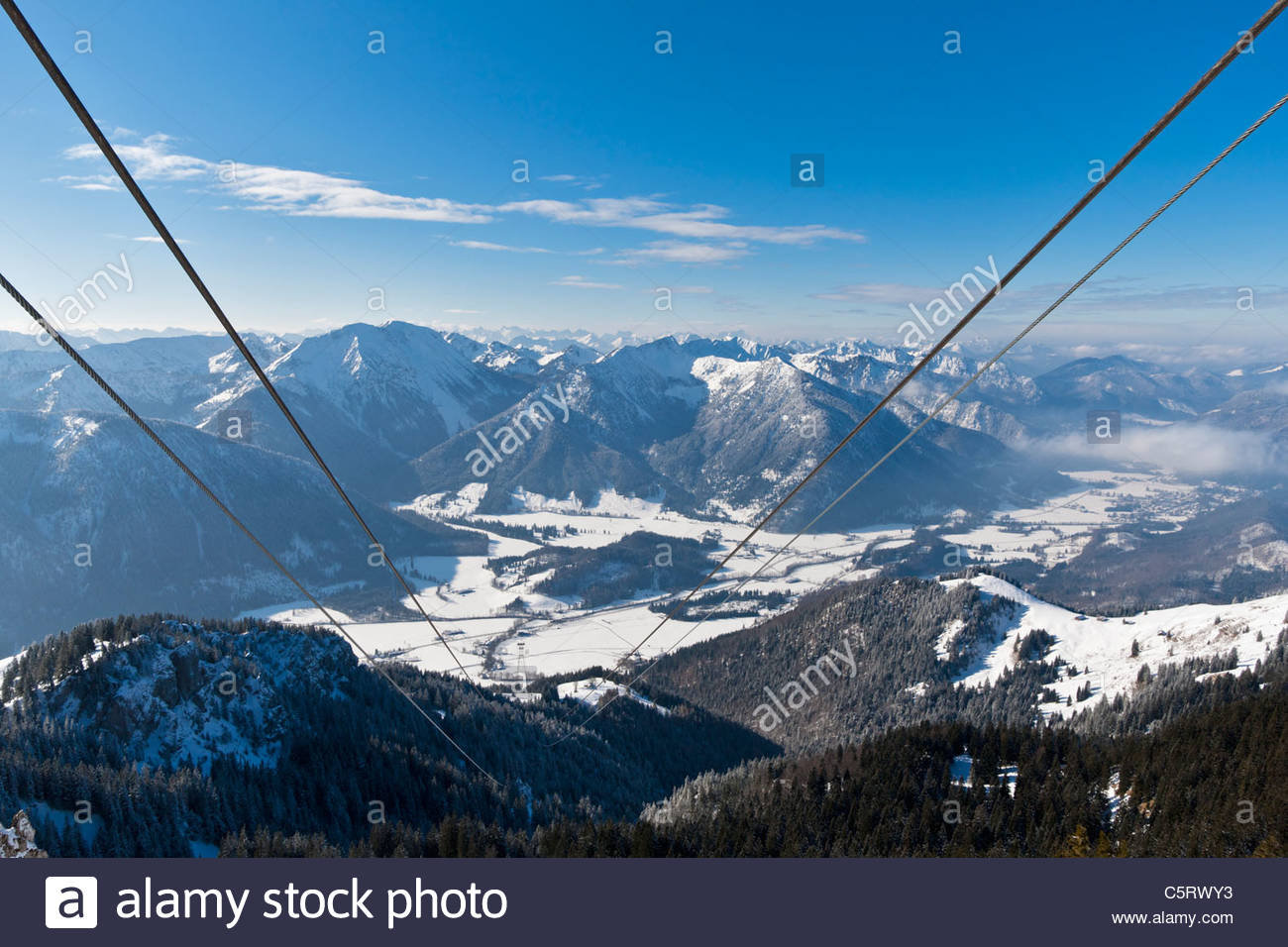 South Germany, Upper Bavaria, Bayrischzell, View of Wendelstein cable car with Mangfall mountains and Bavarian Prealps - Stock Image