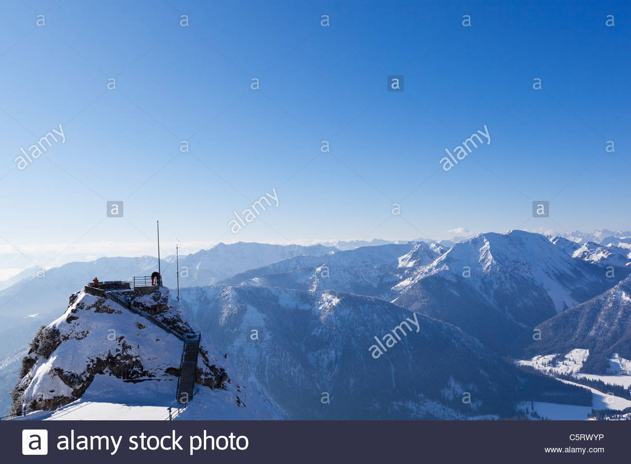 Europe, Germany, Bavaria, Upper Bavaria, Bayrischzell, View of Gacherblick and Bavarian Alps - Stock Image