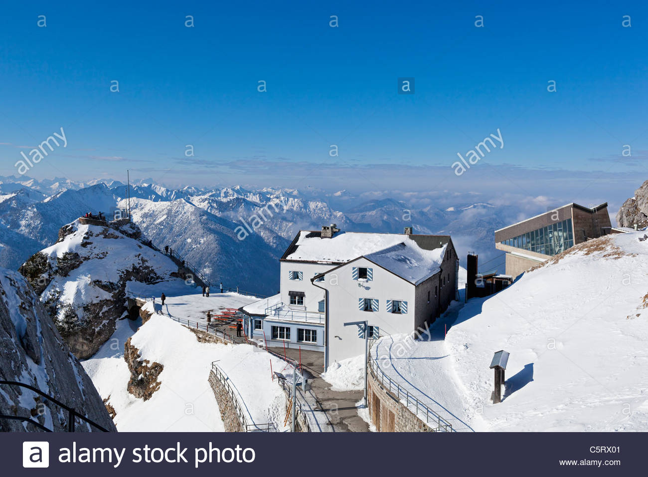 South Germany, Upper Bavaria, Bayrischzell, View of house, restaurant and cable car station on Wendelstein mountain - Stock Image