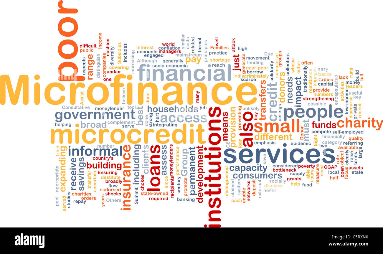 Background concept wordcloud illustration of microfinance - Stock Image