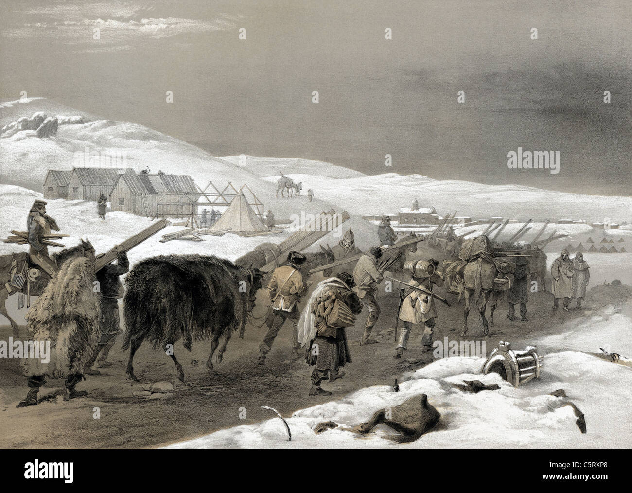 CRIMEAN WAR Lithograph by  William Simpson entilted 'Huts and warm clothing' shows supply train for British - Stock Image