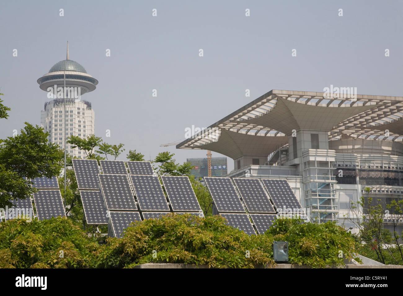 China, Shanghai, Puxi, Volkspark, Solar collectors - Stock Image