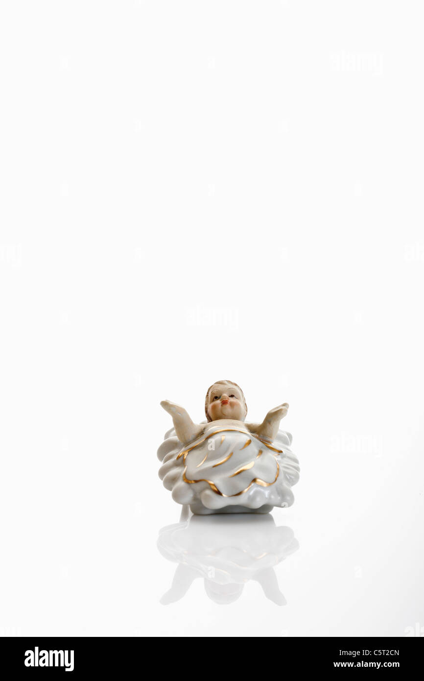 Christmas decoration, Small Baby Jesus Crib Figure - Stock Image