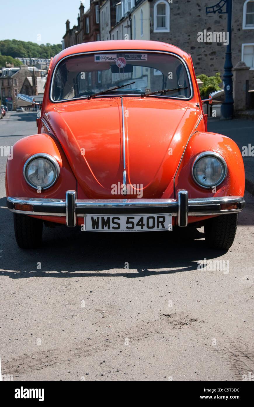 1977 Model Orange Volkswagen Beetle Motor Car Stock Photo