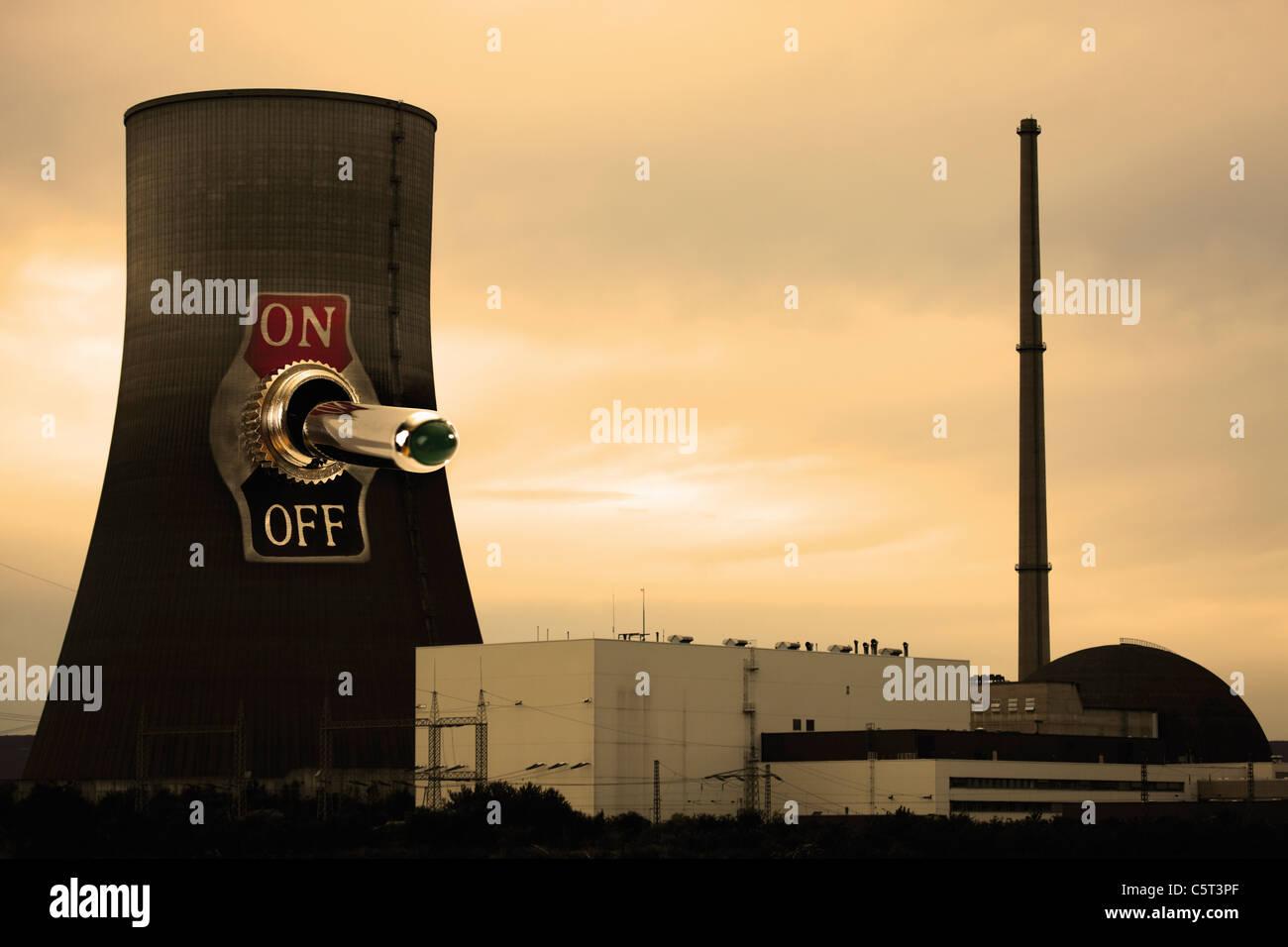 Germany, Rhineland-Palatinate, Mühlheim Kärlich, Nuclear Reactor - Stock Image