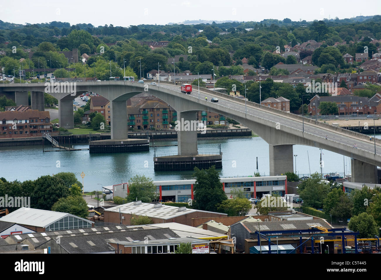 Aerial view of the Itchen Toll Bridge, Southampton, England - Stock Image